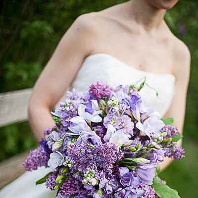 Spring purple lilac wedding bouquet