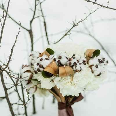 Winter brown carnation wedding bouquet