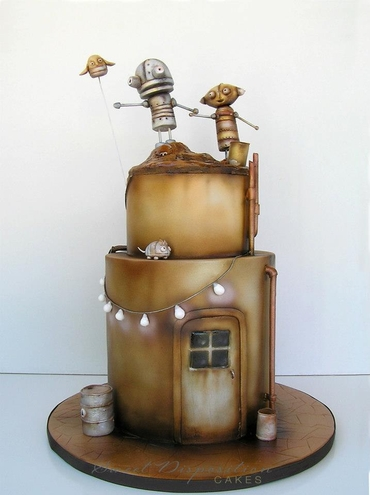 Themed brown wedding cakes