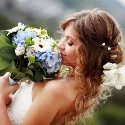 Blue gerbera wedding bouquet