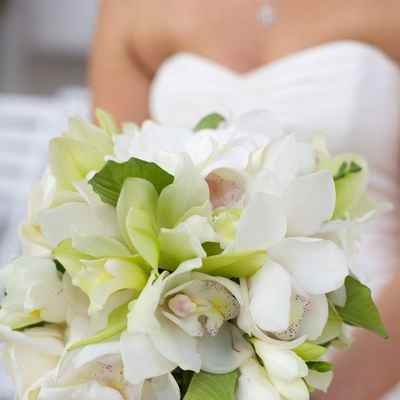 Green orchid wedding bouquet