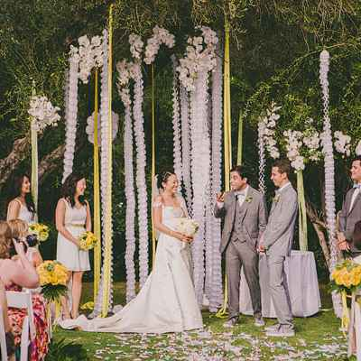 Summer yellow wedding ceremony decor