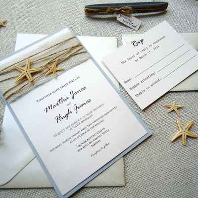 Marine white wedding invitations
