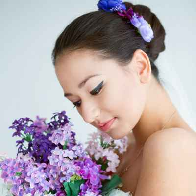 Purple long wedding hairstyles