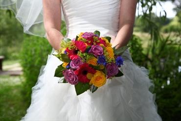 Yellow rose wedding bouquet