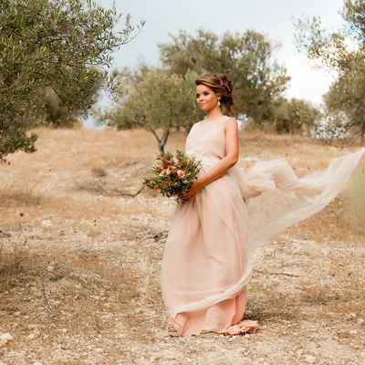 Pink outdoor long wedding dresses