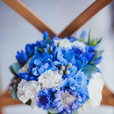Blue carnation wedding bouquet