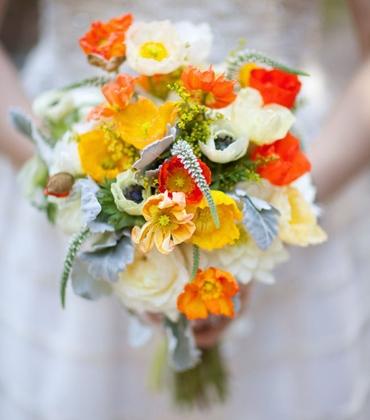 Autumn orange anemone wedding bouquet