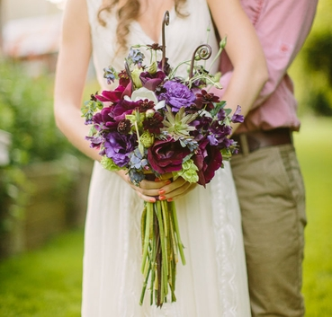 Rustic summer anemone wedding bouquet