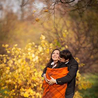 Autumn orange engagement