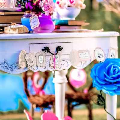 Themed pink wedding photo session decor
