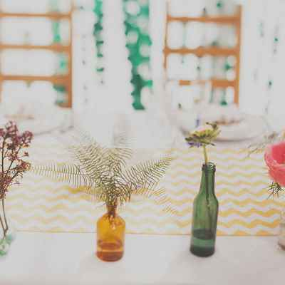 Rustic pink wedding reception decor