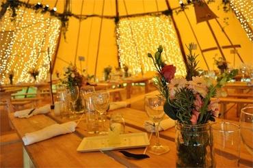 Outdoor gold wedding reception decor