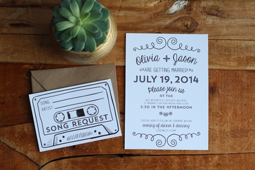 Themed white wedding invitations