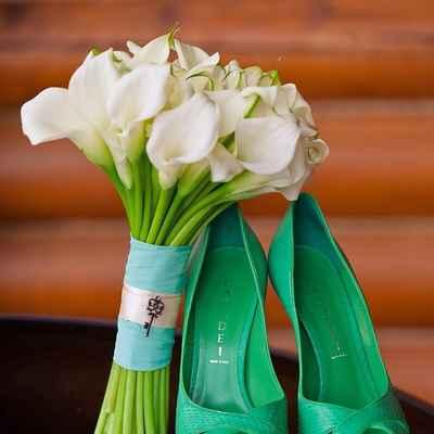 Green calla wedding bouquet