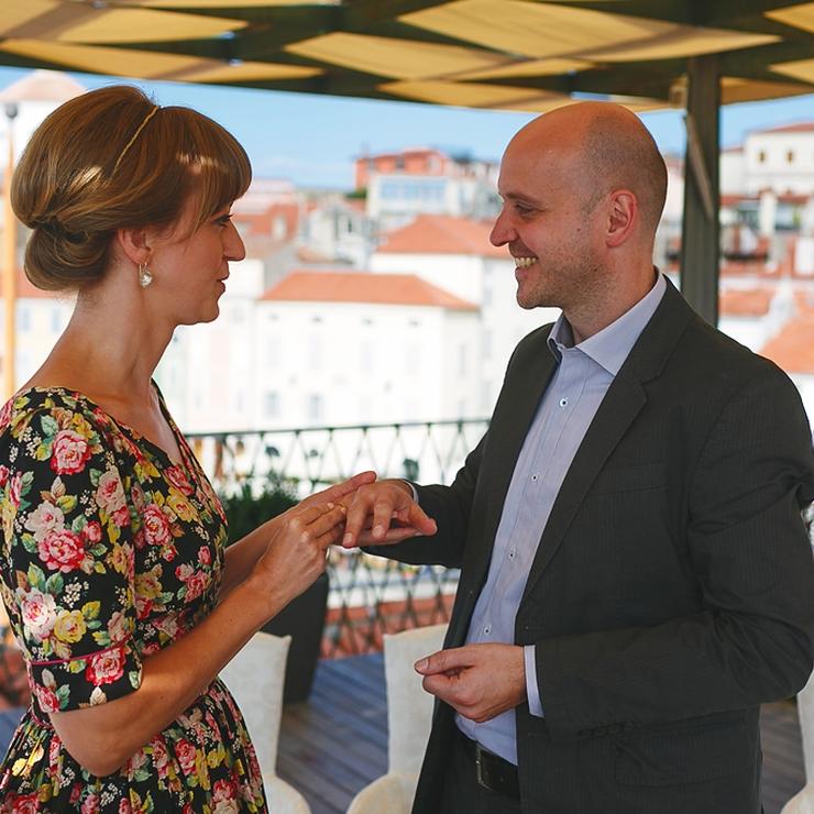 Gerda and Michael's wedding in Piran, on the Slovenian coast; Photos: Uroš Čuden