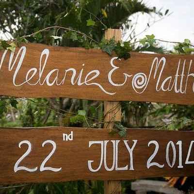 Brown wedding signs