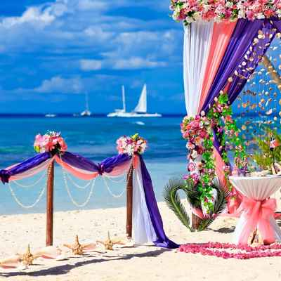 Beach pink wedding ceremony decor