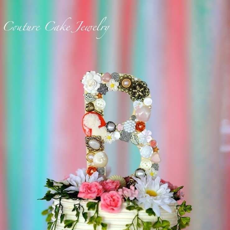 Shabby Chic Monogram Cake Toppers