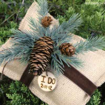 Winter brown wedding ring pillows