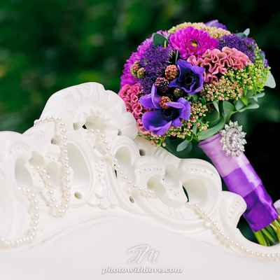 Pink aster wedding bouquet