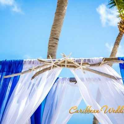 Marine white wedding ceremony decor