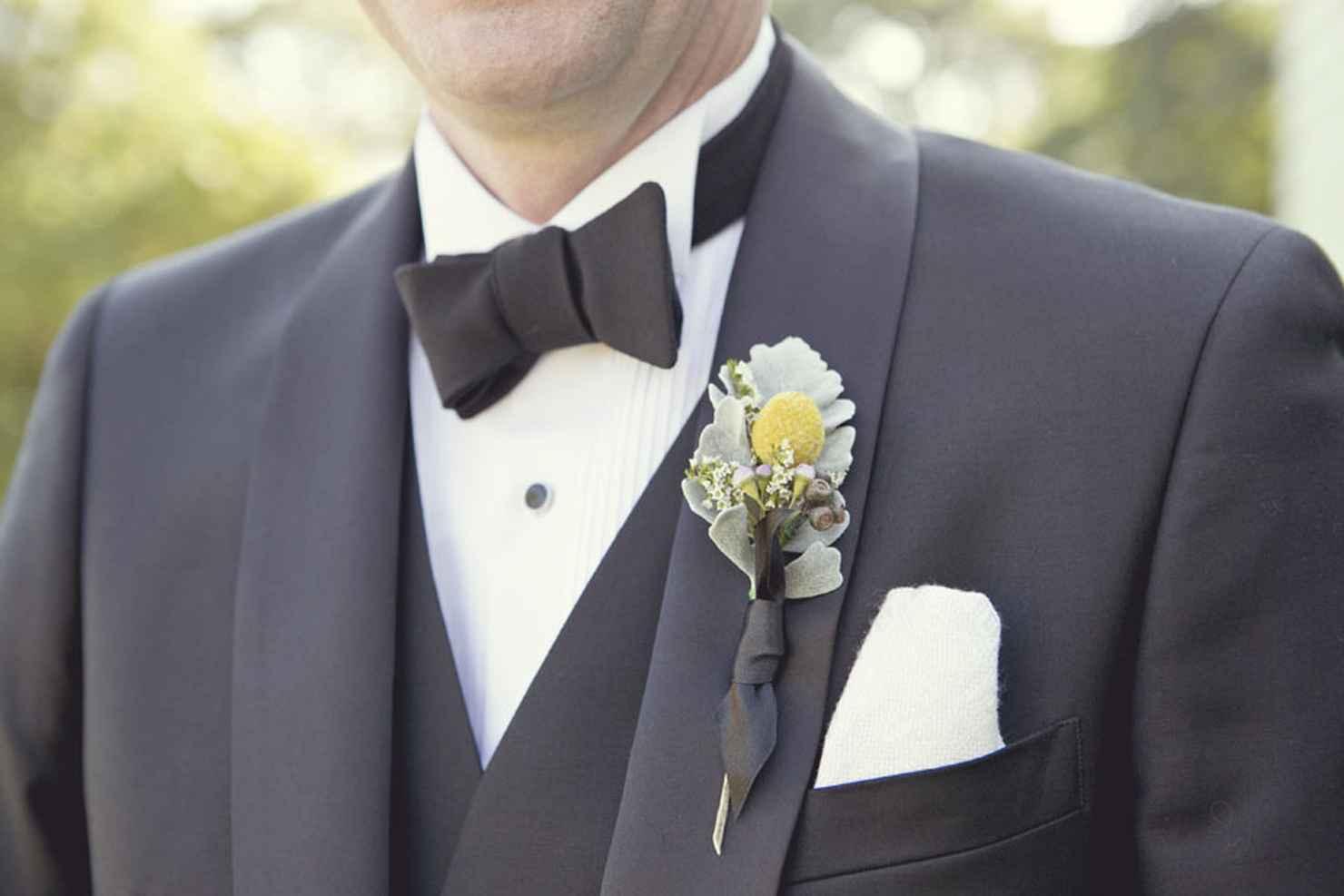 Green wedding buttonhole