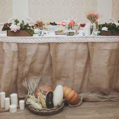 Rustic autumn wedding reception decor