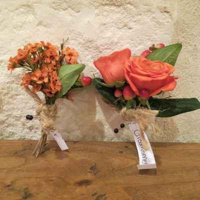 Orange wedding buttonhole