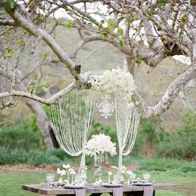 Outdoor spring wedding reception decor