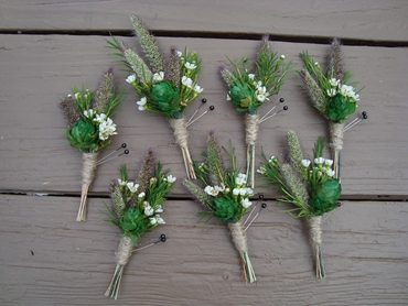 Rustic green wedding buttonhole