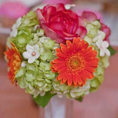 Orange rose wedding bouquet