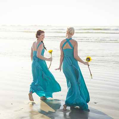 Beach blue bridesmaids