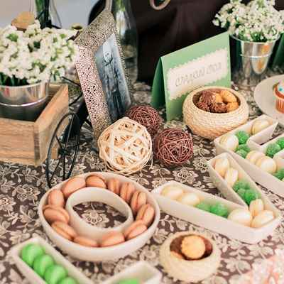 Green photo session decor