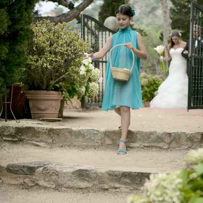 Outdoor blue kids at wedding