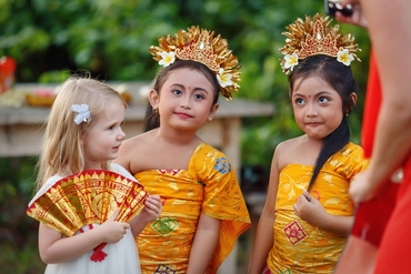 Ethnical kids at wedding