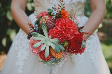 Autumn red aster wedding bouquet
