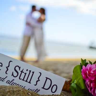 Beach white wedding signs