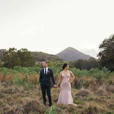 Outdoor autumn pink long wedding dresses