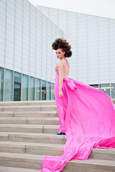 Pink long wedding dresses