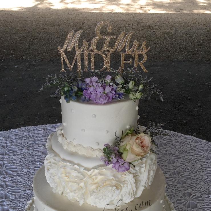 Ruffle Cake with ruffle roses