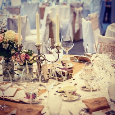Vintage ivory wedding reception decor