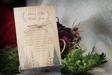 Rustic winter brown wedding invitations