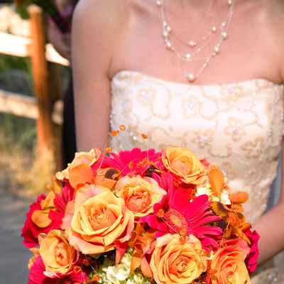 Orange gerbera wedding bouquet