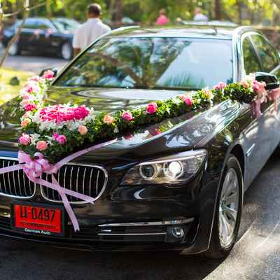 Ivory wedding transport decor