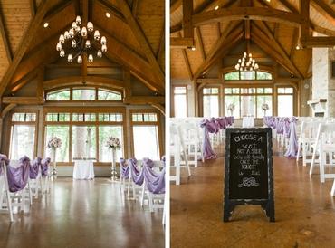Purple wedding ceremony decor