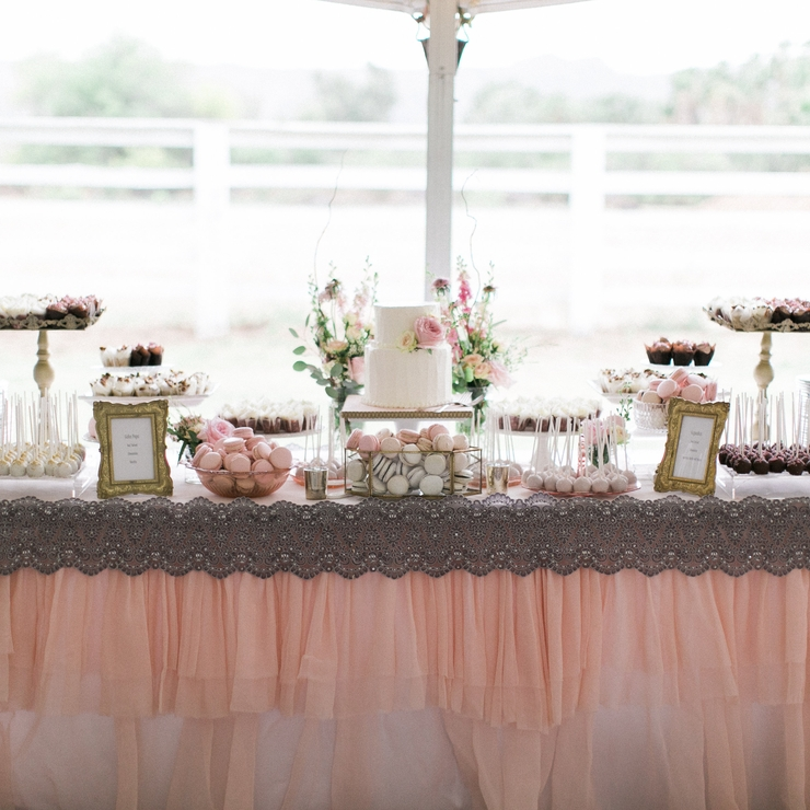 Elegant Blush and Gold Dessert Table