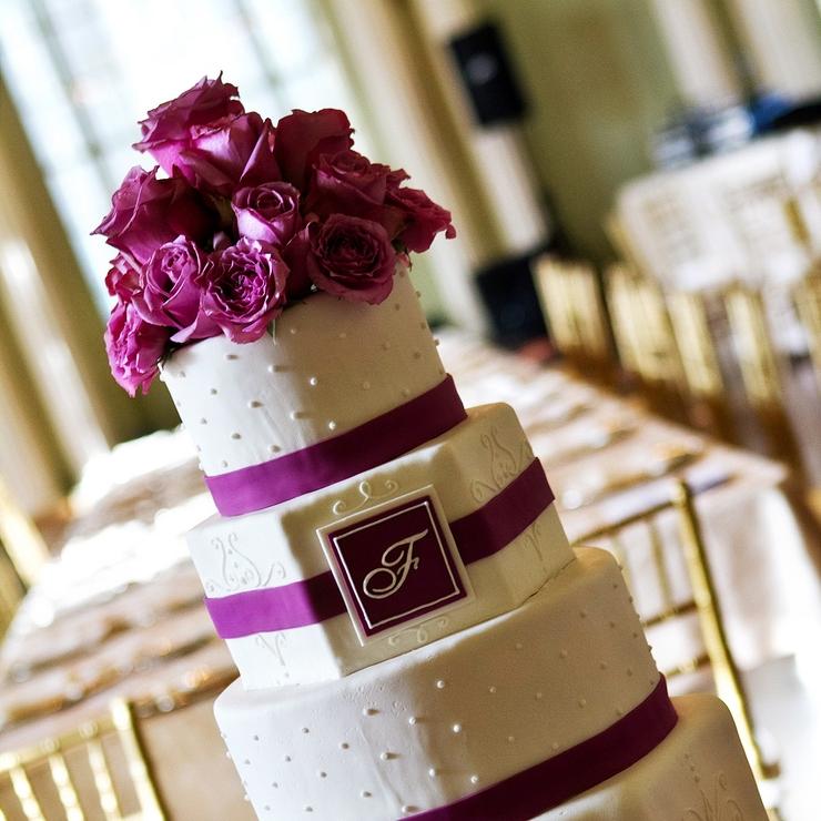 Hexagonal & Round Tiered Wedding Cake