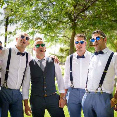 White outdoor groom style