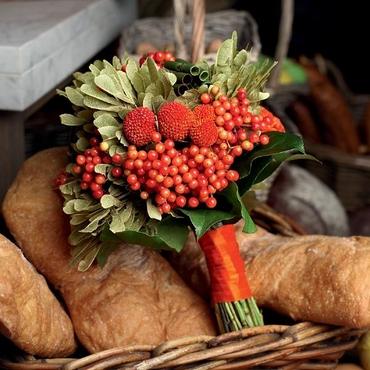 Autumn orange alternative wedding bouquet